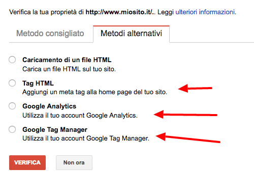 Metodi alternativi verifica search console