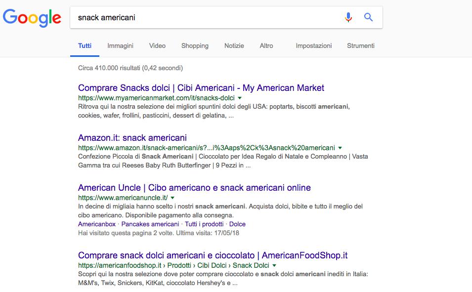 serp di ricerca per snack americani